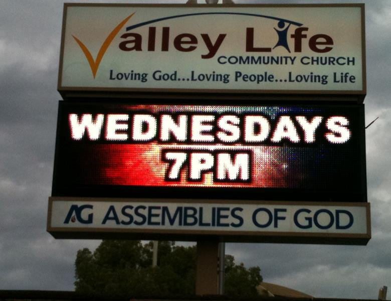 Valley Life Church LED Message Center sign