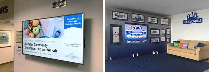 indoor digital displays showing sponsor messages and branding.