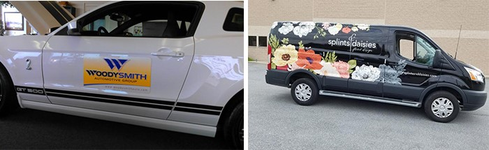 Branded vehicle graphics and vehicle wraps on an SUV and passenger van.