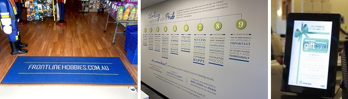 Floor signs, wall graphics, and digital signage meant to inform customers.
