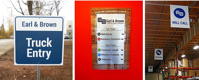 Branded indoor and outdoor wayfinding signs for Earl & Brown