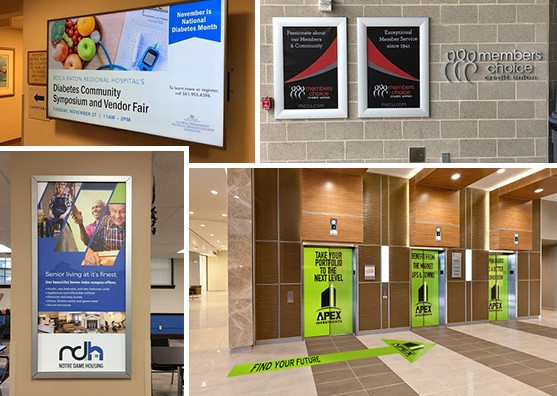 Branded wall graphics, digital signage, and floor graphics in community spaces
