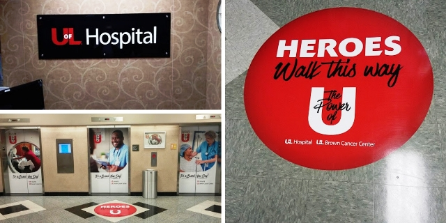 hospital elevator wraps with brand message