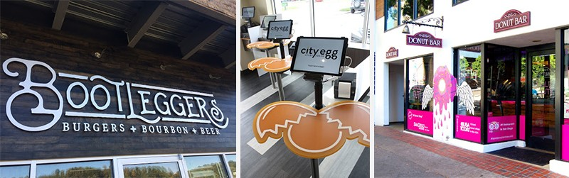 Interior and exterior restaurant signs and visual graphics.