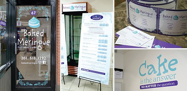 Door graphics, wall graphics, promotional materials and a-frame signs for a cake shop