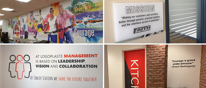 Interior signs, graphics, and murals designed for employee motivation