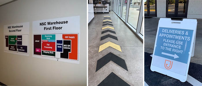 Wayfinding signs, floor graphics, and A-frames for an office.
