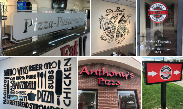 Unique sign and graphic applications for Anthony's Pizza