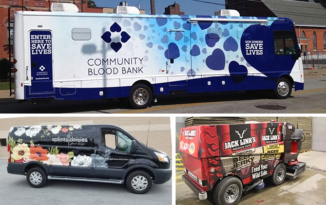 Vehicle wraps for a van, blood donation center, and a zamboni