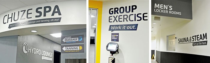 Wayfinding signs used by Chuze Fitness that reflect brand styles