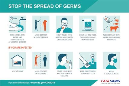 A graphic depicting steps to prevent the spread of germs and what to do if you are infected.