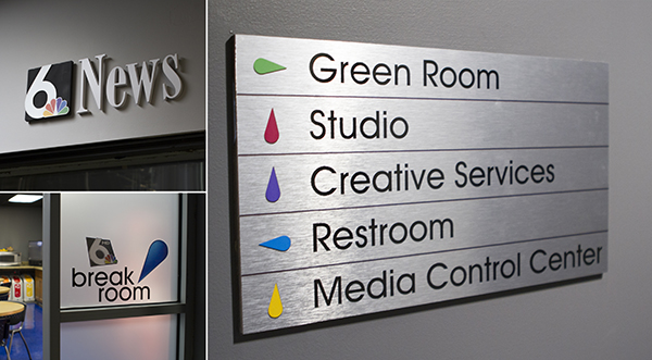 News 6 Vinyl Window Graphics, Dimensional Lettering, and Wayfinding Sign
